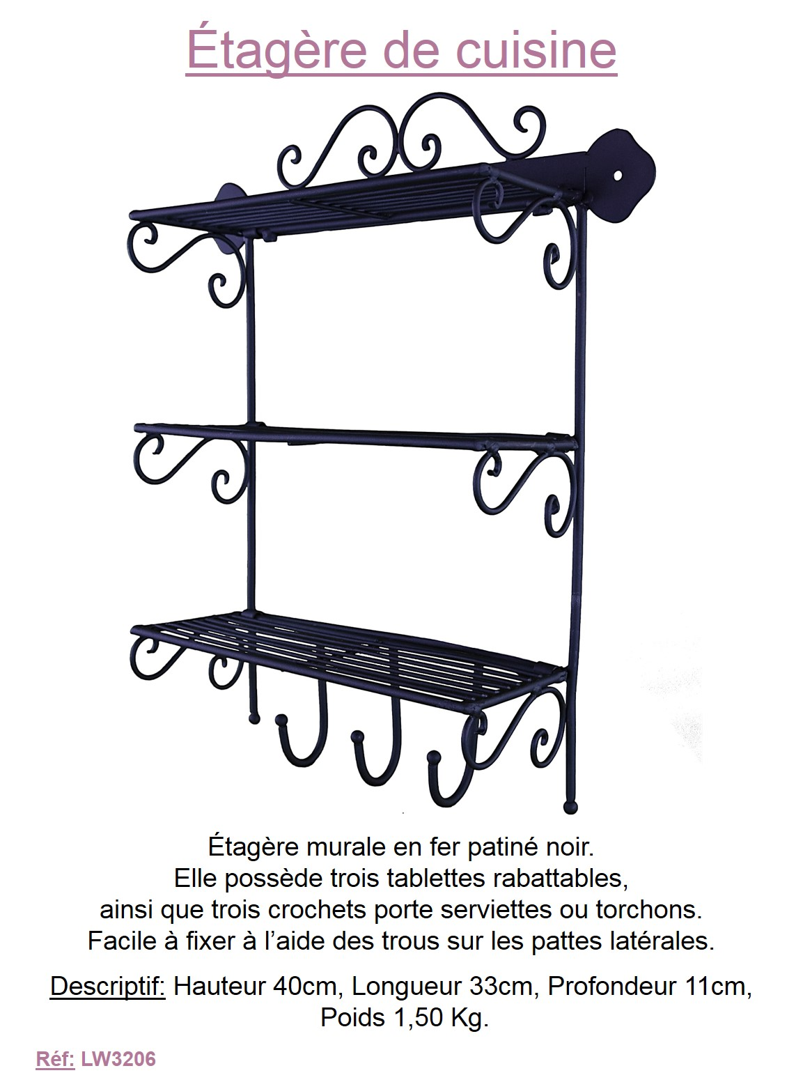 etagere murale cuisine fer forge style ancienne 40x33cm  eBay