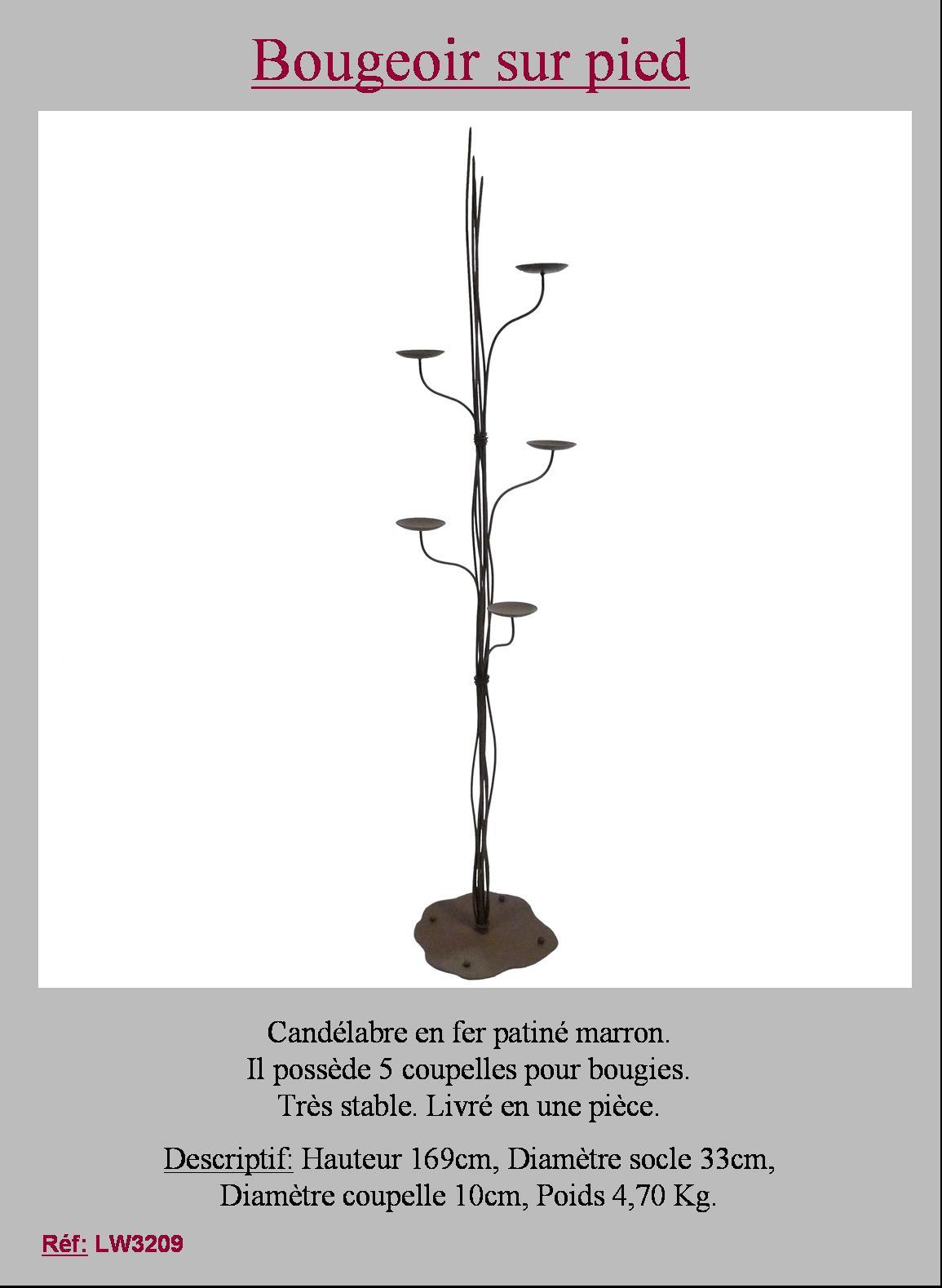 grand bougeoir chandelier sur pied poser 5 feux coupelles pour bougies 169 cm ebay. Black Bedroom Furniture Sets. Home Design Ideas