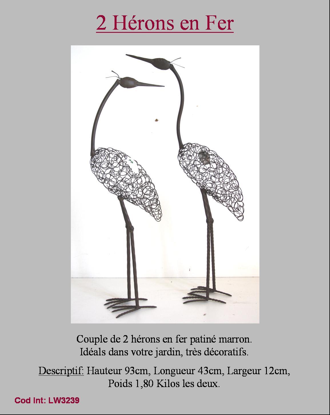 Couple d oiseau heron flamand statue sculpture de jardin for Oiseau decoration jardin