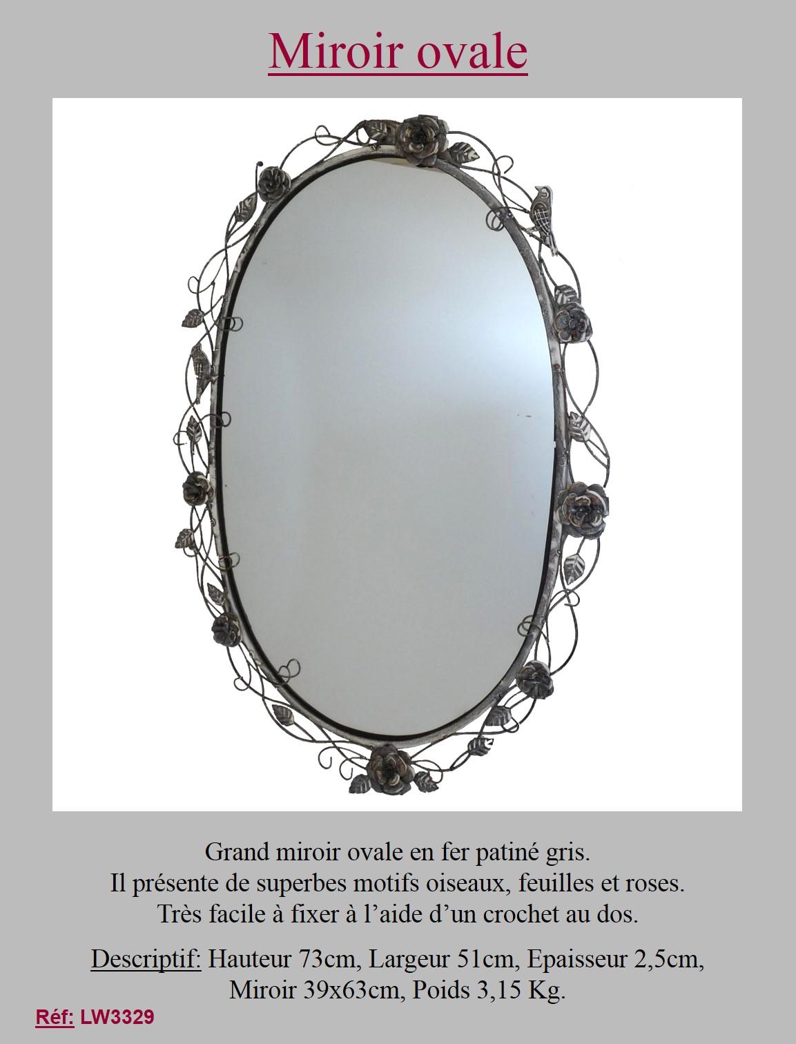 Style ancien miroir metal fer ovale gris avec rose mural for Miroir en fer