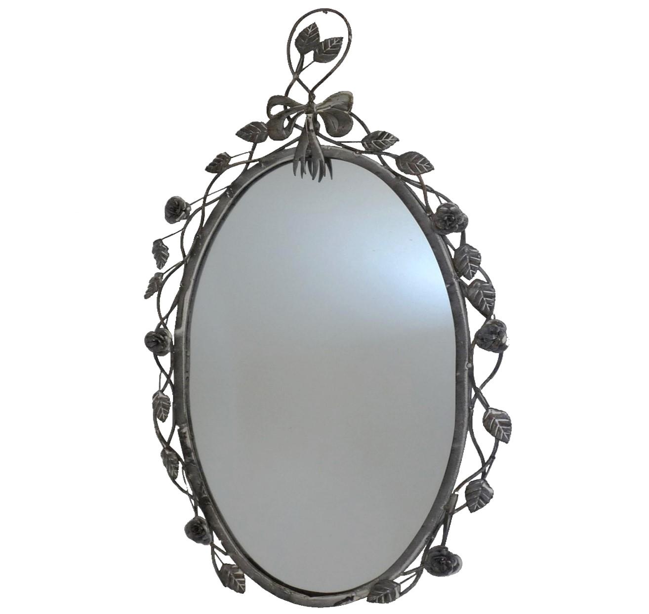 Style ancien miroir metal fer ovale gris avec rose mural for Miroir salle de bain chauffant
