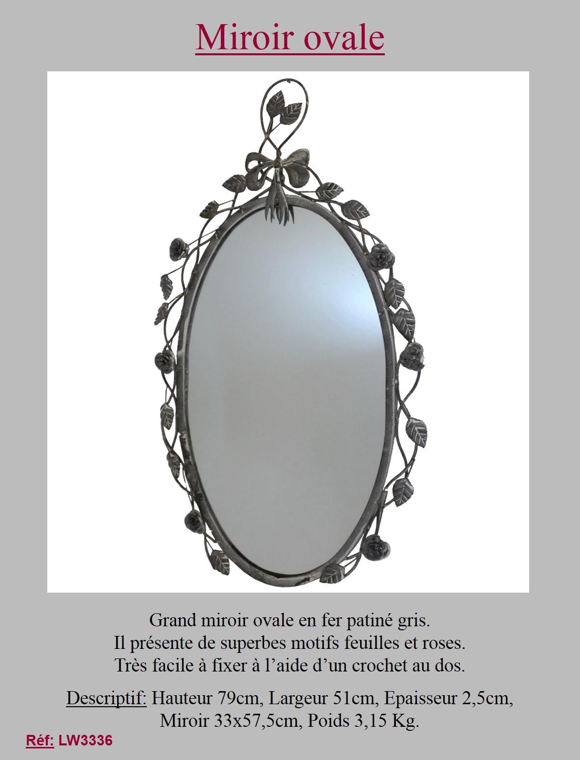 Style ancien miroir metal fer ovale gris avec rose mural for Bougeoir mural ancien
