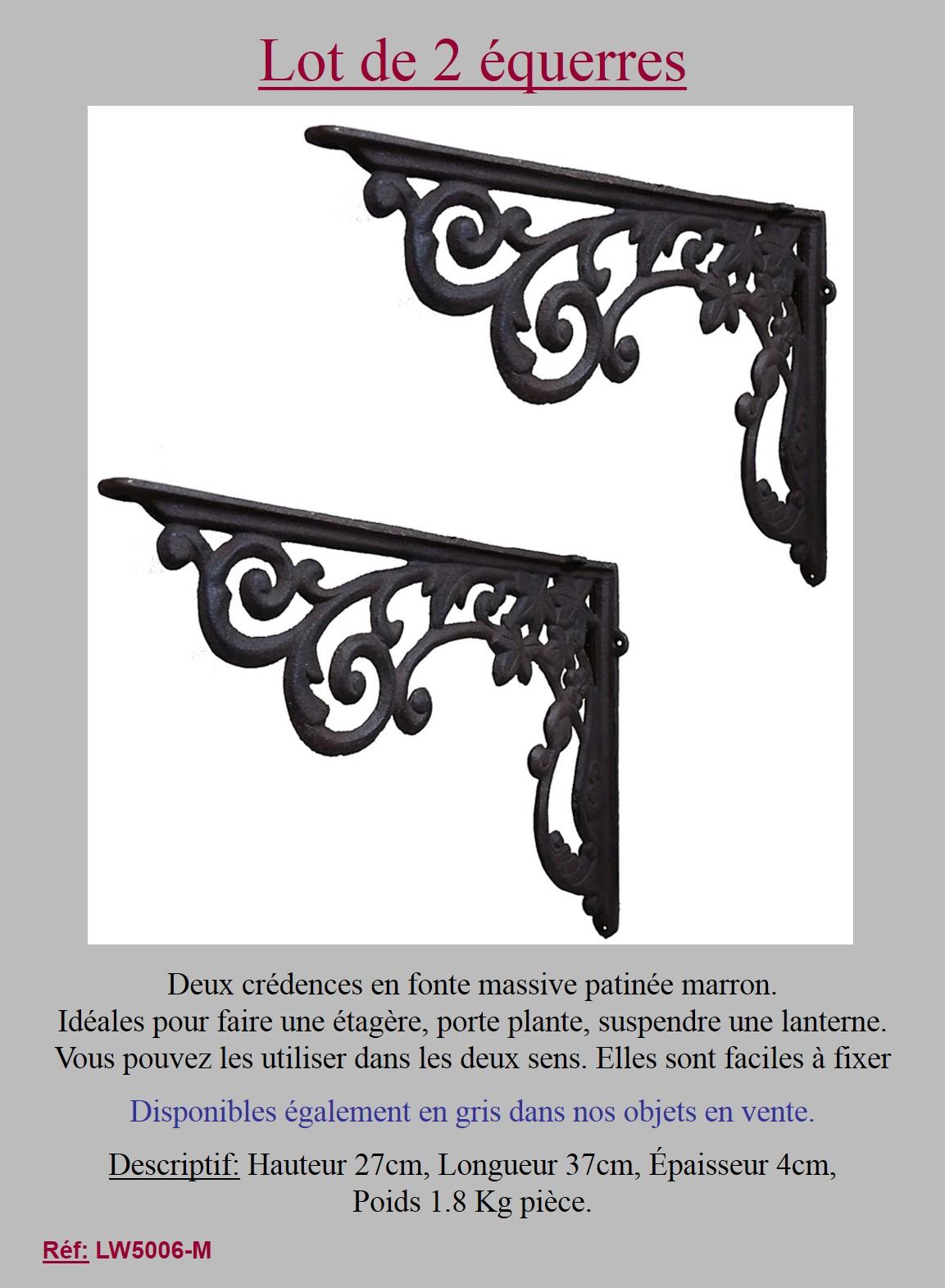2 grande equerre marron credence angle etagere murale potence fonte 27x37cm ebay. Black Bedroom Furniture Sets. Home Design Ideas