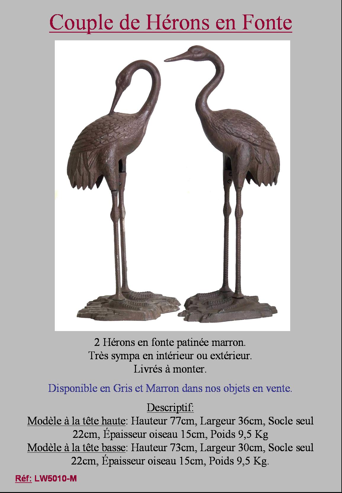 2 heron h ron flamant rose oiseaux animaux de jardin statue sculpture ebay. Black Bedroom Furniture Sets. Home Design Ideas