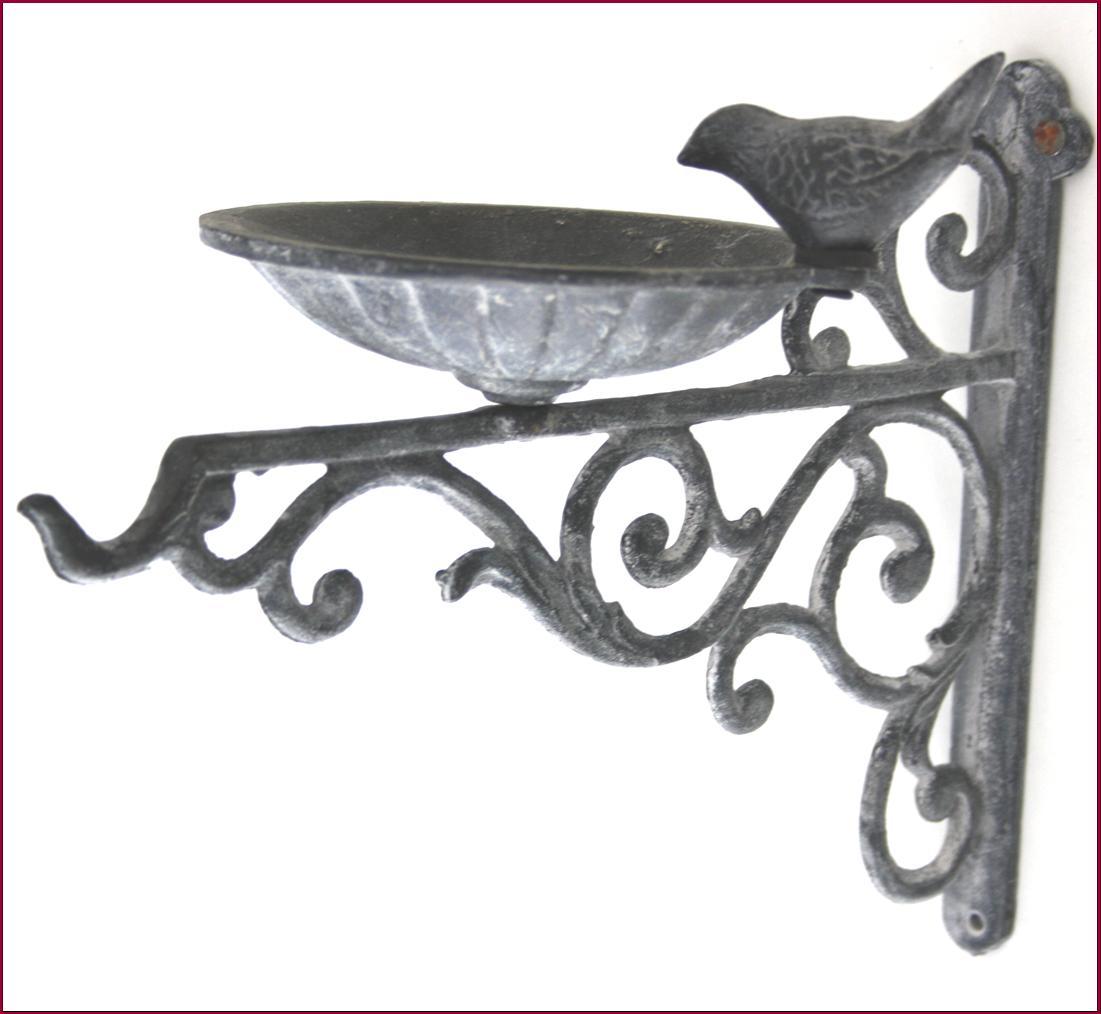 bain d oiseaux mural en fonte mangeoir ou porte plante. Black Bedroom Furniture Sets. Home Design Ideas
