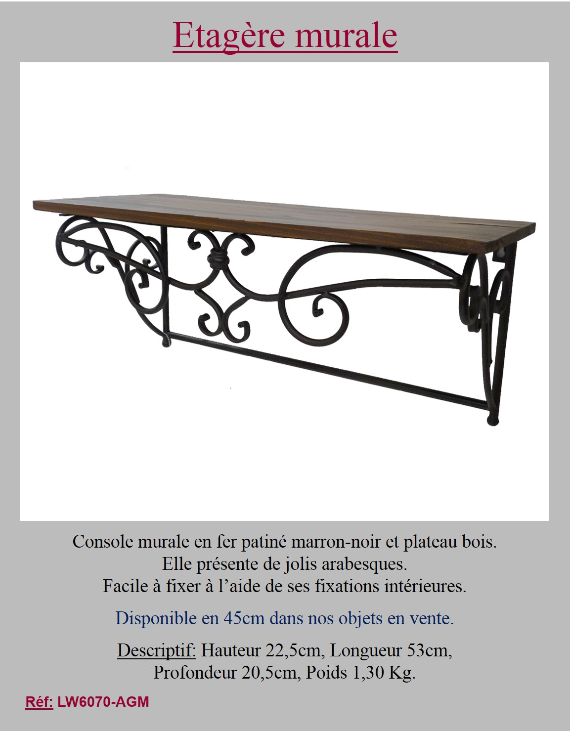 Style Ancienne Tag Re Console Sellette Murale A Epices