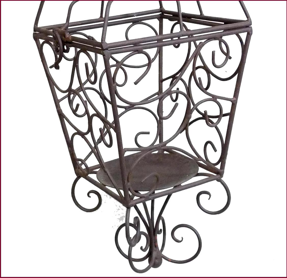 Bougeoir chandelier cage mural en fer a credance equerre a - Bougeoir mural fer forge ...