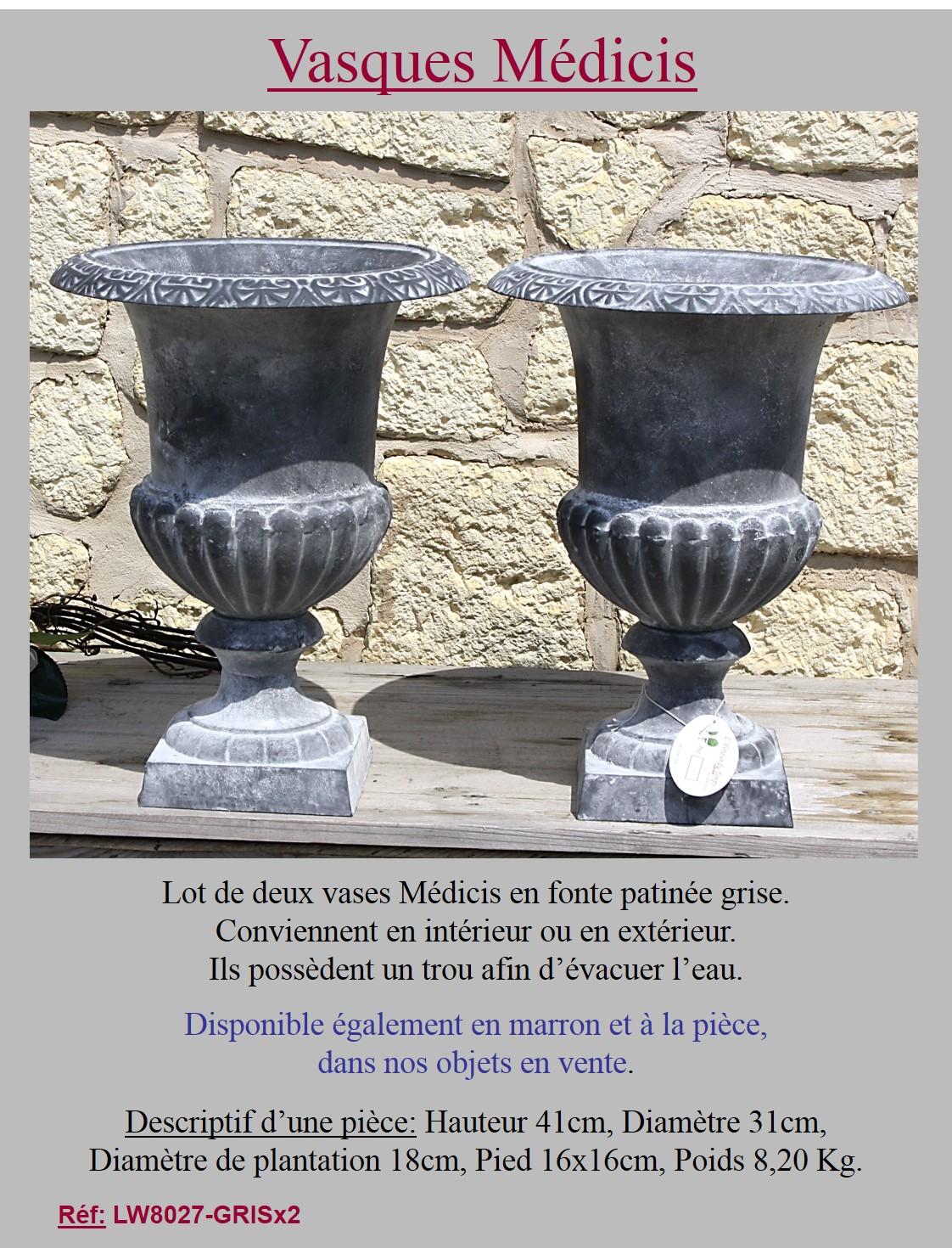 2 style ancienne vasque medicis de jardin en fonte - Jardiniere en fonte ancienne ...
