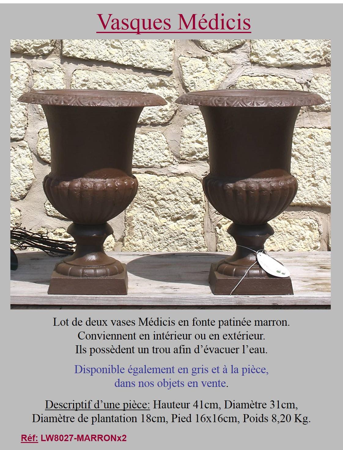 2 jardiniere bac pot vasque medicis en fonte de jardin portail porte marron 41cm for Jardiniere vasque jardin