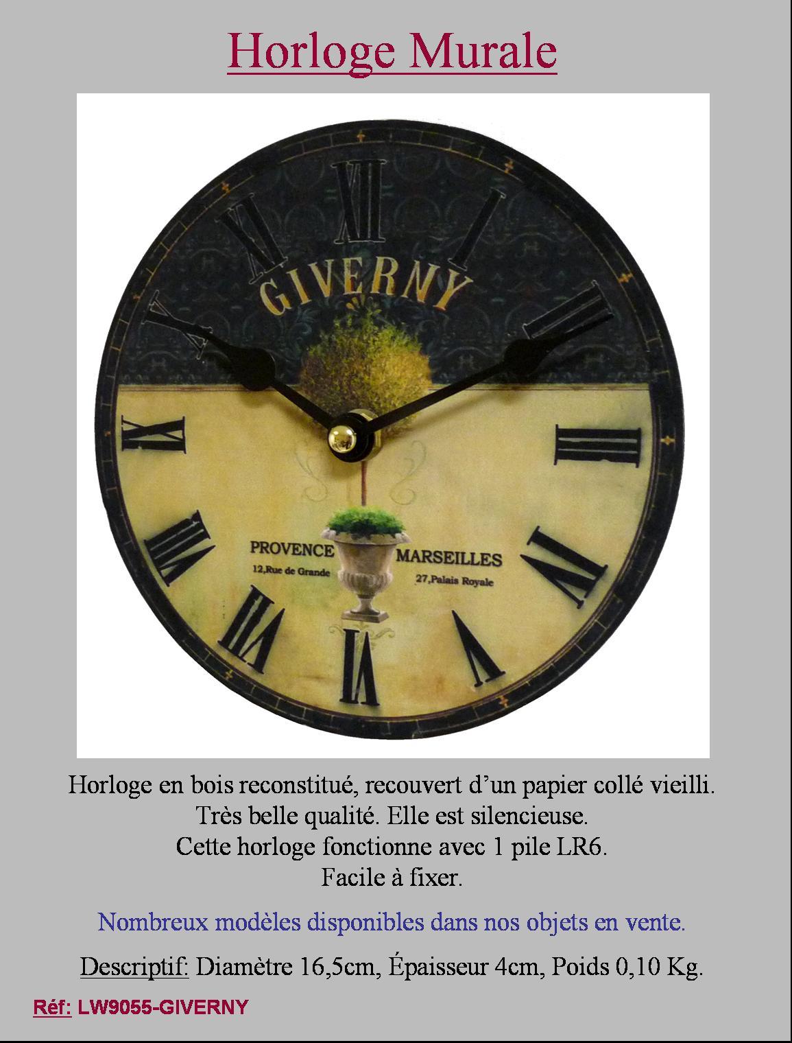petite horloge pendule ronde murale de cuisine salon 16 50cm giverny ebay. Black Bedroom Furniture Sets. Home Design Ideas
