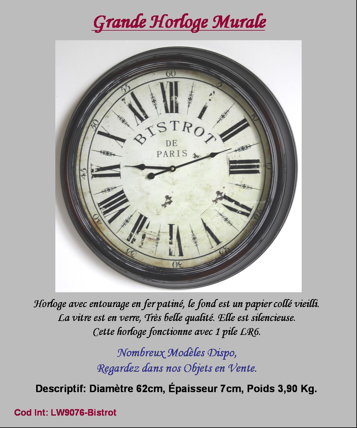 Style ancienne horloge pendule murale de gare cuisine salon 58cm bistrot paris 3l77j2bb for Horloge murale style bistrot