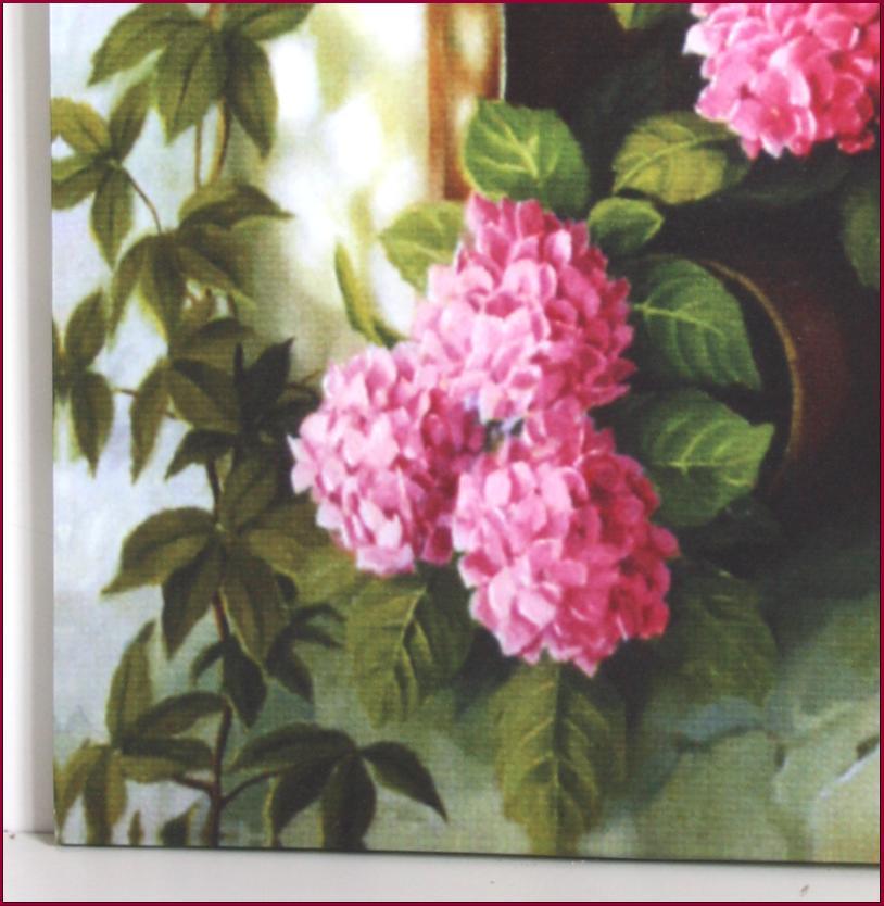 Tableau toile cadre murale fenetre hortensia fleur 45x35cm for Deco fenetre cuisine