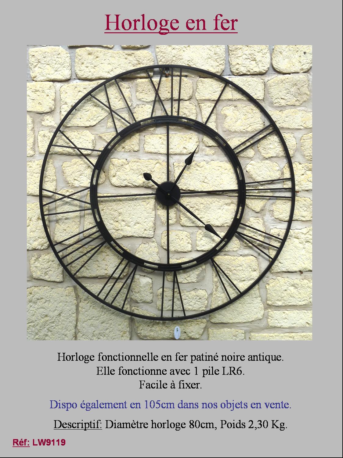 Style ancienne grande horloge pendule murale industriel usine loft en fer 80cm ebay for Horloge en fer