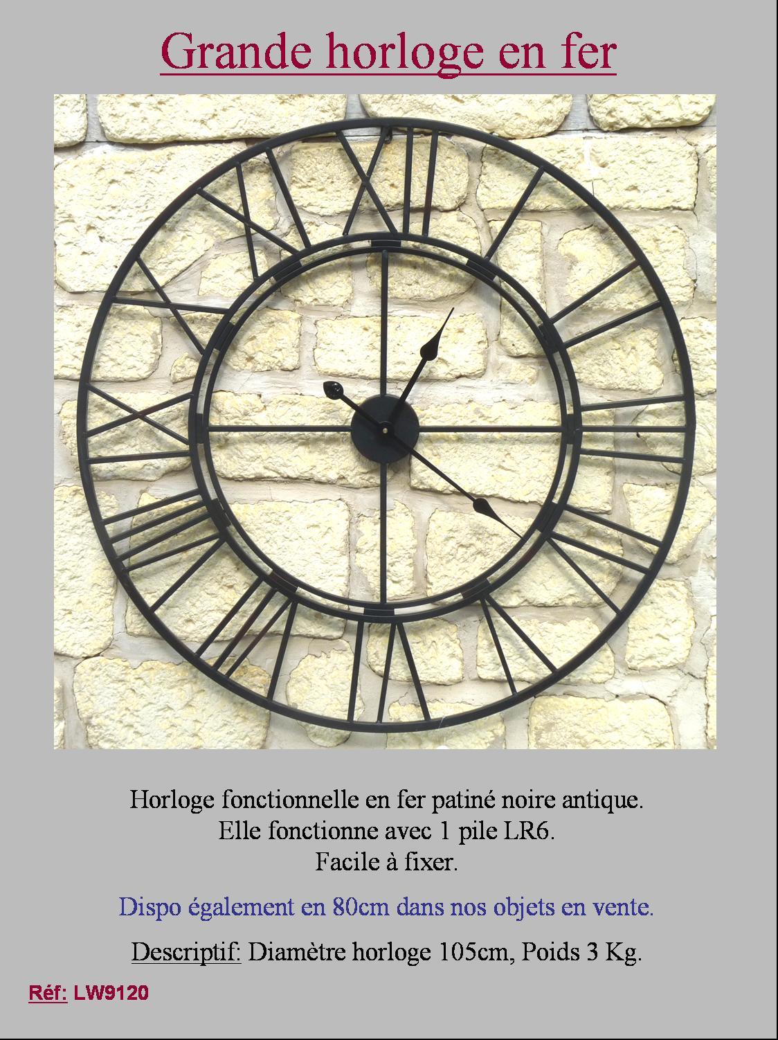 Style ancienne horloge ronde en fer metal murale industriel usine gare 105cm ebay for Horloge en fer