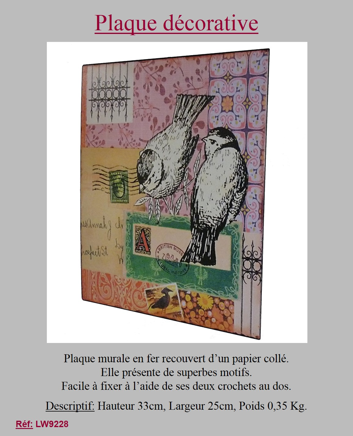 style ancienne plaque de decoration oiseaux murale en metal fer papier 33x25 ebay. Black Bedroom Furniture Sets. Home Design Ideas