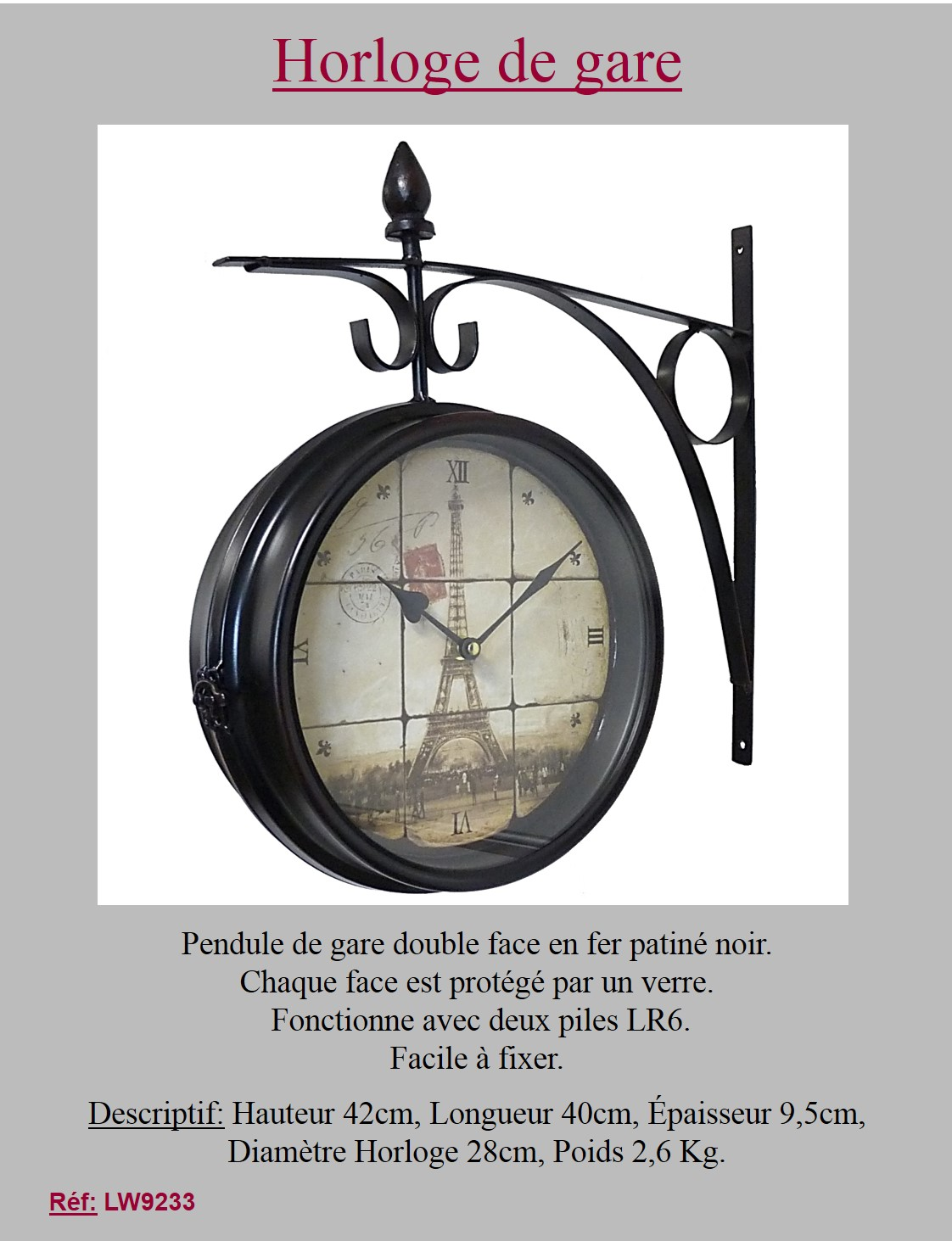 style ancienne grande horloge pendule de gare de cuisine murale double face ebay. Black Bedroom Furniture Sets. Home Design Ideas