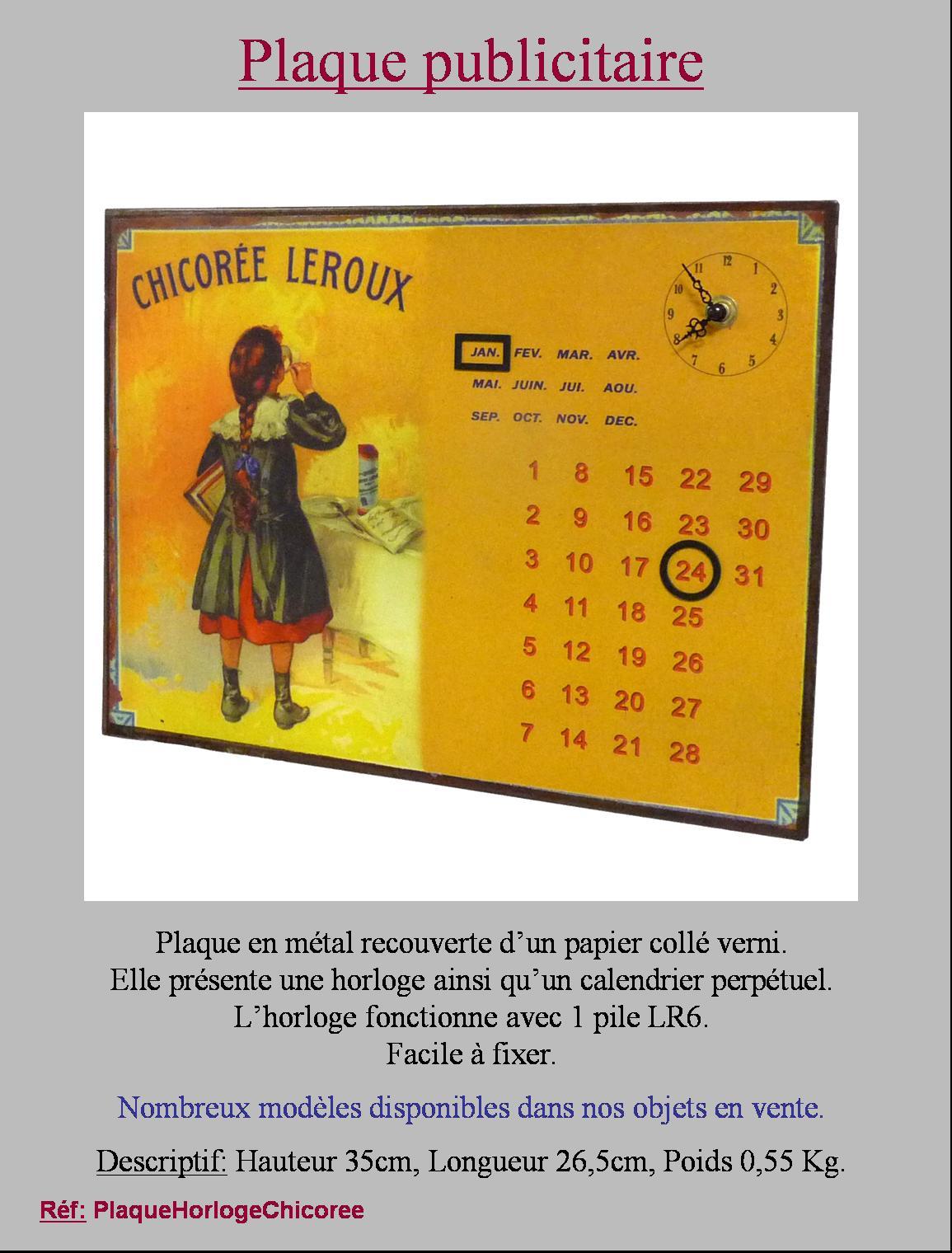 Style ancienne plaque horloge calendrier de cuisine salon for Plaque metal cuisine