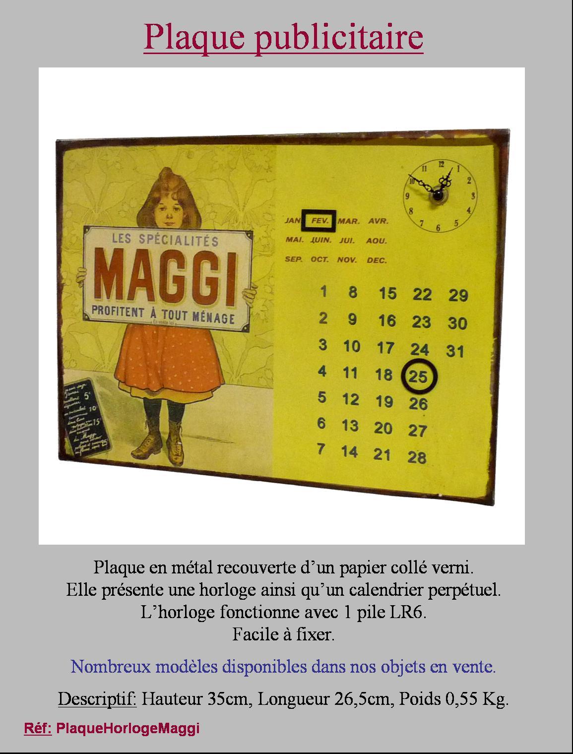 style ancienne plaque horloge calendrier de cuisine salon en metal fer maggi ebay. Black Bedroom Furniture Sets. Home Design Ideas