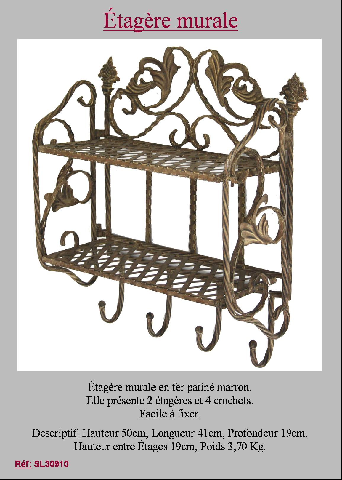 etagere boulangere console meuble de cuisine fer forge etagere a epices murale ebay. Black Bedroom Furniture Sets. Home Design Ideas